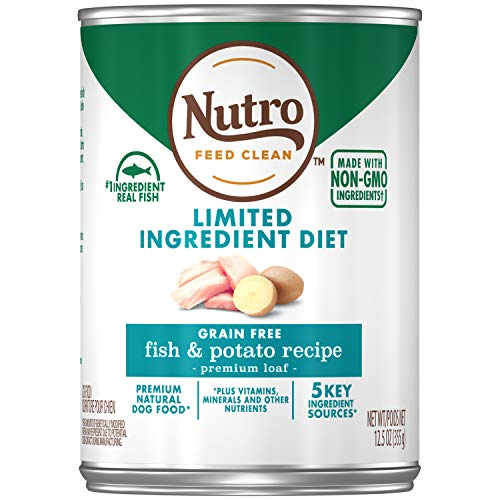 NUTRO Limited Ingredient Diet Adult Canned Natural Wet Dog Food Premium Loaf Fish & Potato Recipe, (12) 12.5 oz. Cans ()