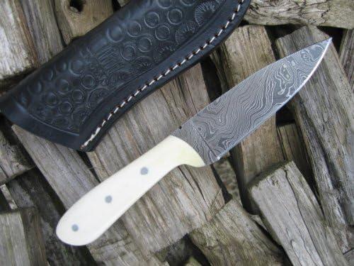 Sale NOW on – Stunning Custom Made Damascus Knife – Mammoth Bone Handle
