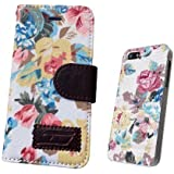iphone 5 5S , IPHONE 5C Luxury Vintage Shabby Chic Cute Flowers Floral Designer Purse Pouch Wallet Case -Tpu leather Floral White+Free Case To Match The Purse