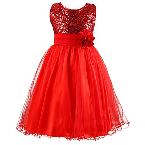 LPATTERN Summer Kids Baby Girls Tutu Tulle Flower Sequin Princess Dresses Bowknot Sleeveless Party Wedding Dress red 3-4 Years