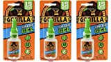 Gorilla Super Glue Gel, 15 g, Clear, (3 Pack)