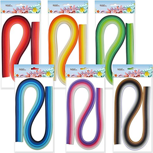 JUYA Paper Quilling Set 54cm Length Up to 42 Shade Colors 6 pack(42 Colors,Width 3mm) by JUYA