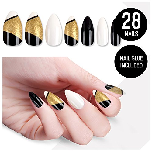Gel Nails Halloween Ideas (Tip Beauty White Black Nail Kit, Circa 1920, Faux Nails for Women, Fake Nails, Glue on Nails, Instant Nails, Professional Tips, False Nails with Glue - MSRP)