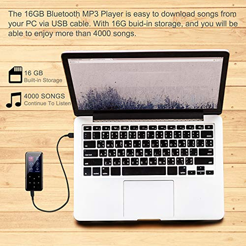 MP3 Player,PELDA Bluetooth MP3 Player,16GB MP3 Player with 2.4'' Large Screen, HiFi Lossless Music Player with Speaker,Touch Buttons,FM Radio/Recorder,16GB Come with a Wired Headphone by Pelda (Image #4)