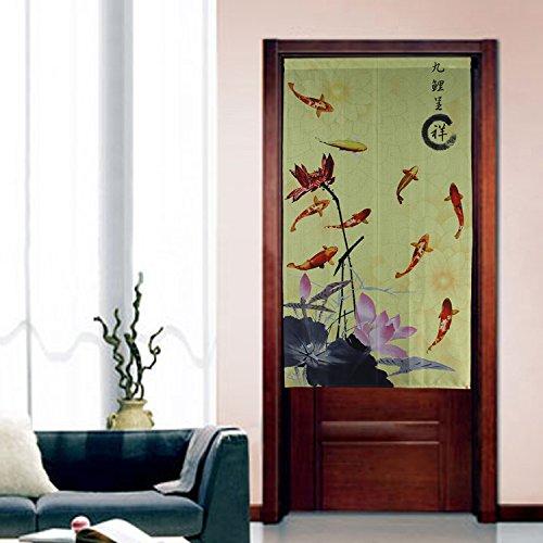 Noren Curtain Tapestry 9 Carps Lotus Door Curtain Yellow