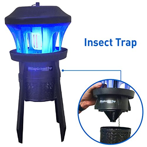 EasyGoProducts Insect Trap-Insect, Mosquito, Fly, Bug Killer for Indoor-Outdoor Use Protects up to ½ Acre - Whisper Quiet Suction Fan with No Zapper Noise