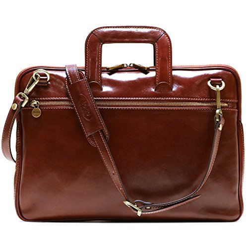 Floto Firenze Slim Briefcase (Vecchio Brown)