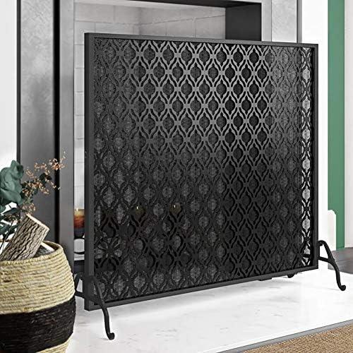 暖炉スクリーン 単一のパネル錬鉄暖炉スクリーン、赤ちゃんの安全暖炉フェンススパークガード、アウトドアメタル装飾メッシュカバー、35 H×39 W