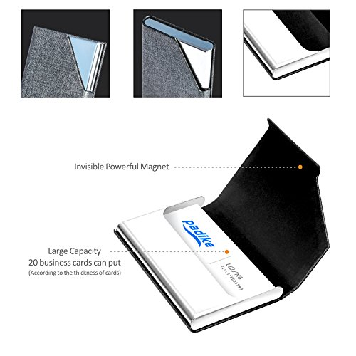 Business Name Card Holder Luxury PU Leather & Stainless Steel Multi Card Case,Business Name Card Holder Wallet Credit Card ID Case/Holder for Men & Women - Keep Your Business Cards Clean (Gray) ¡­