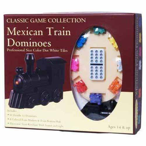 (Classic Game Collection Mexican Train Dominoes with Train Markers and hub)