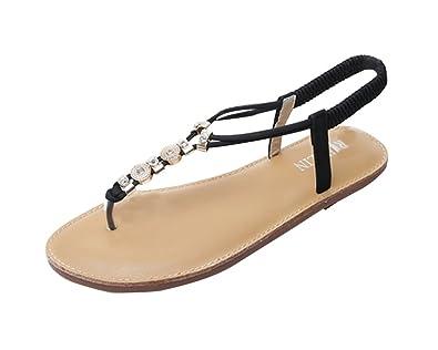Damen Zehentrenner Sandalen Glitzer Strass Fläche Sandalen Schuhe Party Schuhe Weiß 38 82Te0MO0pR