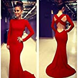 Leshery New Sexy Women Long Sleeve Prom Ball Cocktail Party Dress Formal Evening Gown (red-S)