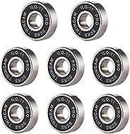8 Pieces Bearings Skateboard Bearings Longboard Roller Skate Bearings 608 2RS, Double Shielded, Black