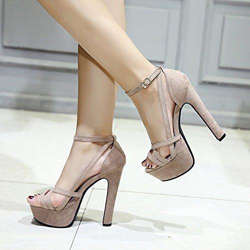 Xing Lin Zapatos De Verano Para Las Mujeres Cuñas Los Nuevos Peces De Verano Son Gruesas Y El Agua Es Muy Alta Con Sandalias 13Cm Alto Noche Zapatos De Mujer Romana Beige