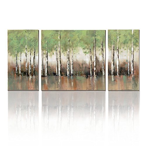 3Hdeko - Birch Tree Canvas Wall Art Green Forest Landscape Picture 3 Pieces Aspen Prints Painting for Living Room Bedroom Office Decoration, Ready to Hang