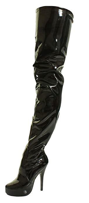 d71c246c64c6 Sexy Fetish Crotch Thigh High Over The Knee Heel Black Shiny Stretch PVC  Concealed Stiletto Platform