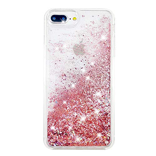 uCOLOR Rose Pink Glitter Case for iPhone 7 Plus iPhone 8 Plus Case iPhone 6S Plus/6 Plus Case (5.5