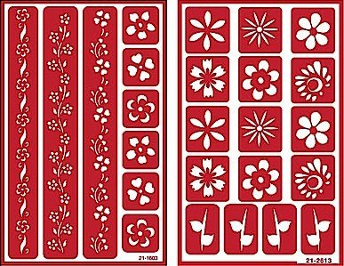 Over 'n' Over Reusable Self-Stick Etching Stencil for Glass (or Stamping) - Bundle of Two Sets - Floral Borders 2 & Flowers