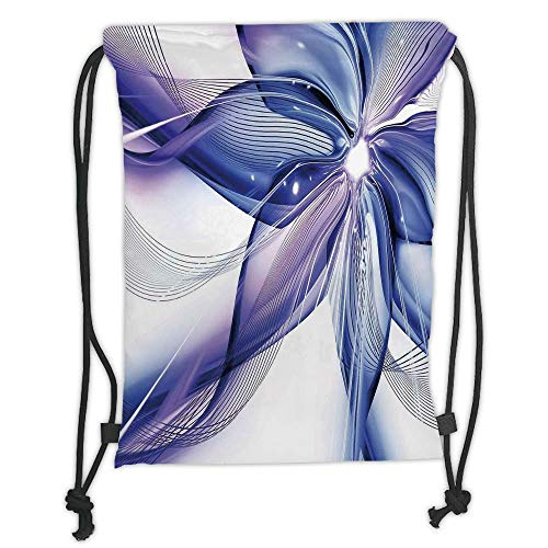 New Fashion Gym Drawstring Backpacks Bags,Abstract Decor,Geometrical Smoke like Striped Huge Flower Floral Design Artwork,Blue White and Purple Soft Satin,Adjustable String -