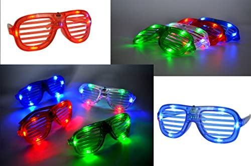44 LED Finger Lights JOYIN 60 Pieces LED Light Up Toy Party Favour Party Bag Fillers Classroom Price 12 LED Flashing Bumpy Rings and 4 Flashing Slotted Shades Glasses
