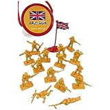 WWII British Infantry with Flag 8th Army World at War Toy Soldiers Series Plastic Army Men Figures 1/32 Scale 17 Pieces with Reusable Tube Storage - Marx, Airfix, Matchbox Type Figures