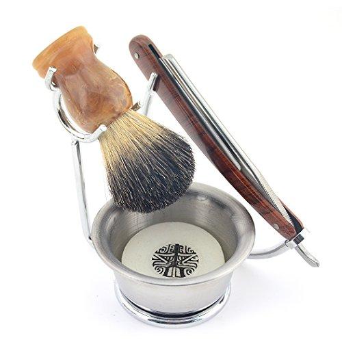 Grandslam 6IN1 Straight Razor Shave Set Shaving Brush Badger Hair Knife Holder Bowl Soap New