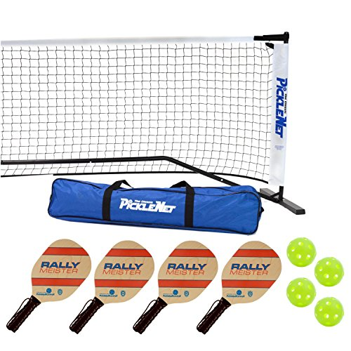 Frame Ball - Rally Meister Pickleball Net, Paddle and Ball Set (Includes Metal Frame + Net + 4 paddles + 4 balls + Rules Sheet in Carry Bag) (Black)