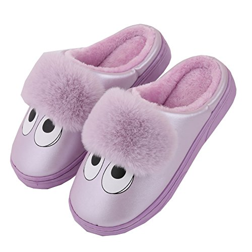 Cartoon PU leather family home slippers-Unisex winter warm plush boots shoes Purple HZ1pNpm6Vb