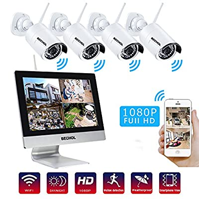 Bechol 1080P Wireless Security Camera System,9 inch Touchscreen LCD Monitor,Rechargeable Camera