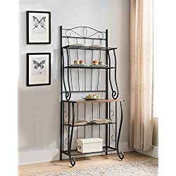 Kings Brand Furniture Black/Walnut 5-Tier Kitchen Storage Bakers Rack