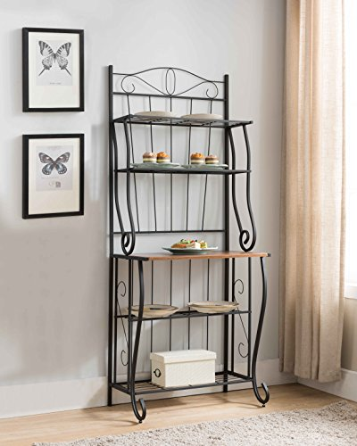 Kings Brand Furniture Black / Walnut 5-Tier Kitchen Storage Bakers Rack by Kings Brand Furniture