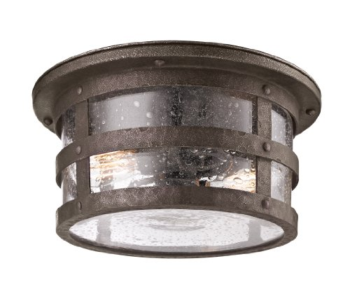 a 2-Light Outdoor CFL Flush Mount - Barbosa Bronze Finish with Amber Mist Glass (Flush Amber Mist)