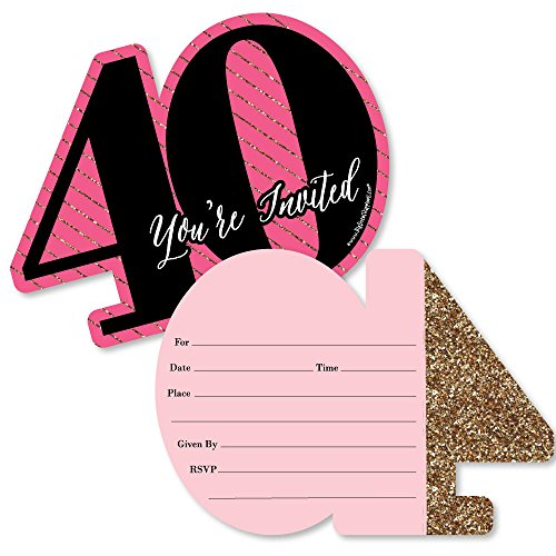 Chic 40th Birthday - Pink, Black and Gold - Shaped Fill-in Invitations - Birthday Party Invitation Cards with Envelopes - Set of 12 -