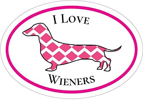 (WickedGoodz Oval Pink I Love Wieners Dachshund Vinyl Decal - Dog Bumper Sticker - Perfect Dachshund Owner Gift)