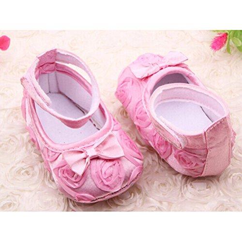 PIXNOR Prewalkers Schuhe mit Rosen Bowknot Decor für Baby-Mädchen (Pink)