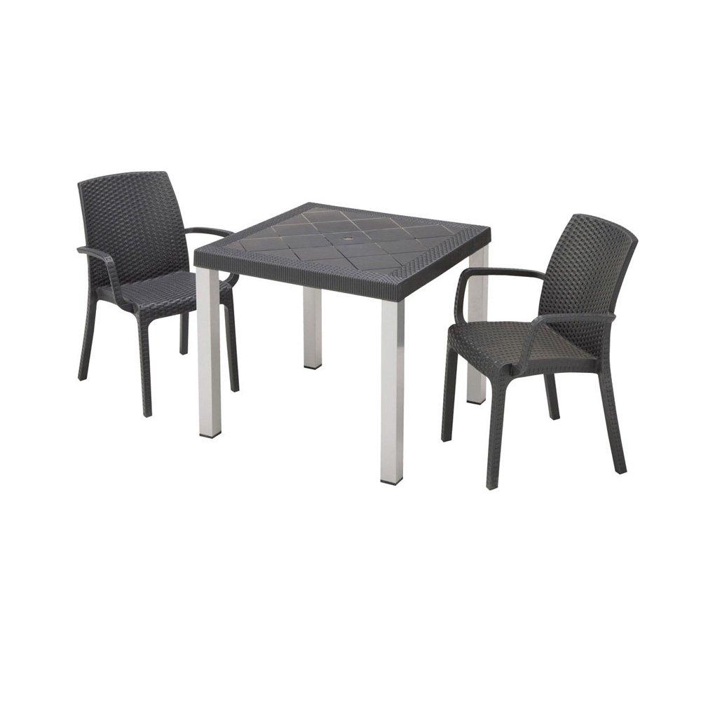 イタリア製テーブル&ラタン調チェア 3点セット G47014 B07BZL2HB8
