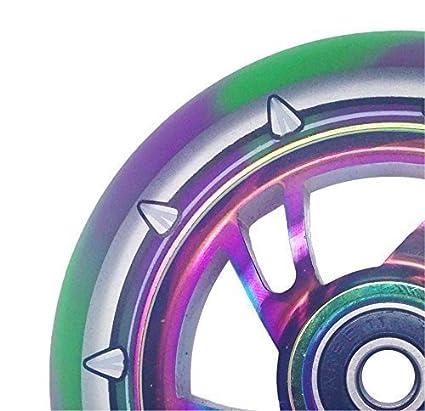 Team Dogz, coppia di ruote da monopattino con nucleo in lega da 110 mm, poliuretano misto e cuscinetti ABEC11, rifinitura Neochrome con colore arcobaleno, Rainbow Core Green/Purple PU