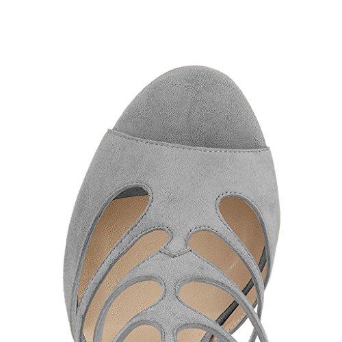 Fsj Donne In Gabbia Sandali Eleganti Scarpe Peep Toe Scarpe Estirpare Tacchi Alti Tacchi Alti Taglia 4-15 Us Grigio