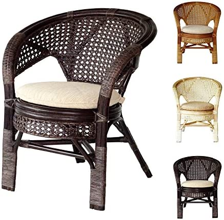 Pelangi Handmade Rattan Dining Wicker Chair w cushion, Dark Brown