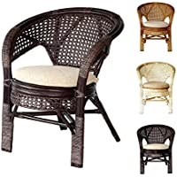 Pelangi Handmade Rattan Dining Wicker Chair W/cushion, Dark Brown