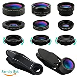 iPhone Lens, Cell Phone Lens Kit-Super Wide Angle Lens, Super Macro Lens, Fisheye Lens, Starburst Lens, CPL Lens, Kaleidoscope Lens, Telephoto Lens, Wide Angle Lens, Macro Lens, 11 in 1 Camera Lens