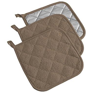 DII 100% Cotton, Machine Washable, Heat Resistant, Everyday Kitchen Basic, Terry Potholder, 7 x 7 , Set of 3, Brown