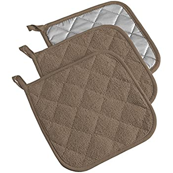 DII 100% Cotton, Terry Pot Holder Set Machine Washable, Heat Resistant, 7 x 7, Brown, 3 Piece
