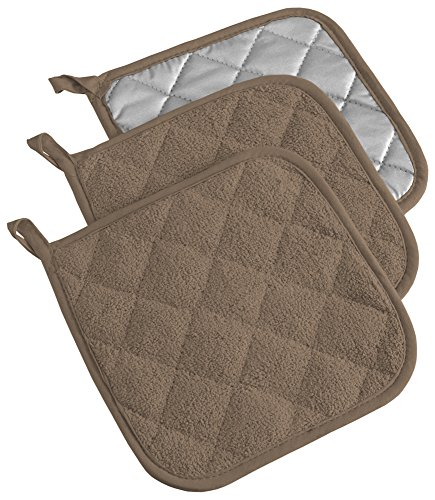 (DII, Cotton Terry Pot Holders, Heat Resistant and Machine Washable, Set of 3, Brown )