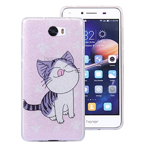 Huawei Y5 II Bling Case, Huawei Y5 II Cover, BONROY® Ultra-Thin Soft Gel TPU Silicone Case For Huawei Y5 II, Luxury Glitter Sparkle Perfect Fit Slim Sturdy Bumper Scratch Resist Protective Clear Cute kitten