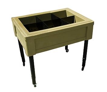 RTS acentos para el hogar portátil Raised mesa de jardín con separadores, ajustable patas y ruedas, color roble: Amazon.es: Jardín