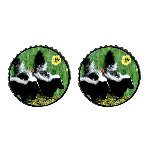 GiftJewelryShop Bronze Retro Style Wildlife Skunk Photo Stud Earrings 10mm Diameter ()