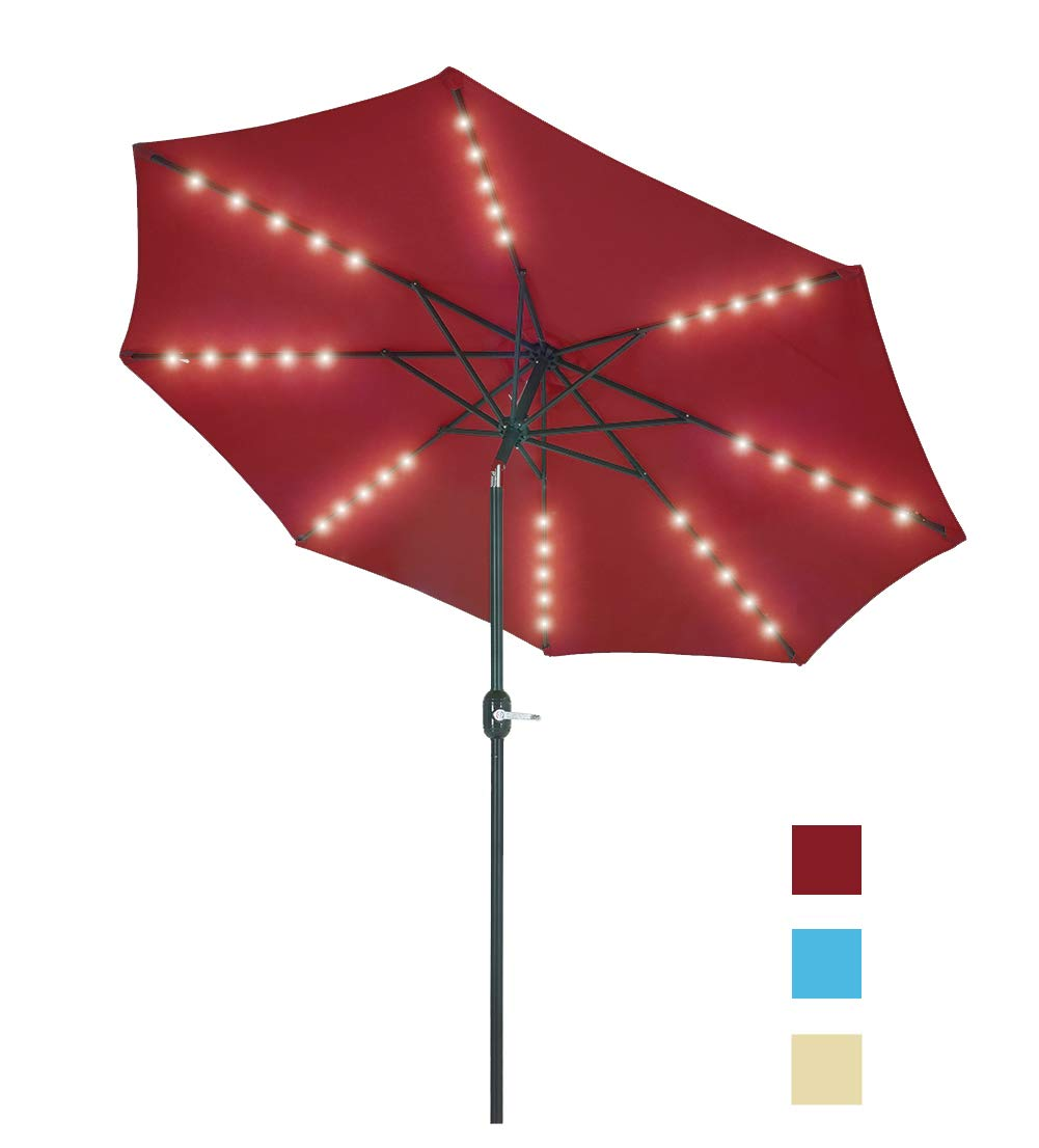 Patio Watcher 9 Feet Solar Umbrella 40 LED Lighted Patio Umbrella Outdoor Umbrella Market Table Umbrella with Push Button Tilt and Crank, 8 Steel Ribs, Red