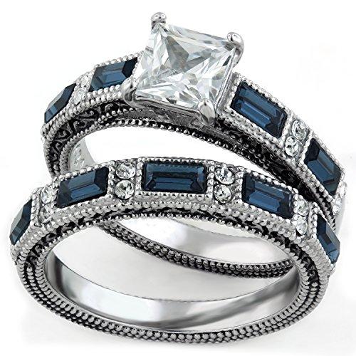 Women's Antique Design 1.25 Carat Princess Cut Clear & Sapphire CZ Stainless Steel Wedding Set Size 7
