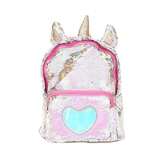 Starte PU Bling Toddler Unicorn Backpack for Girls Trave School Mini Backpack for Women Sequins Critter Backpack,Gold